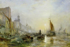 """""""Shipping on the Tames"""" by Samuel Bough"""
