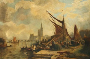 """The Thames at Westminster"" by Samuel Bough"