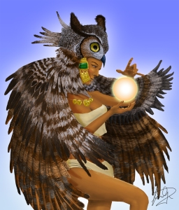 Owl woman illustration by Mario Alberto González Robert. Magoro Graphics