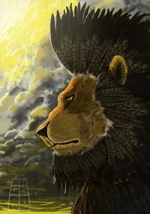Feathered lion illustration by Mario Alberto González Robert. Magoro Graphics