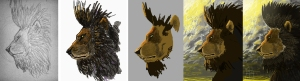 Progress of feathered lion illustration by Mario Alberto González Robert. Magoro Graphics