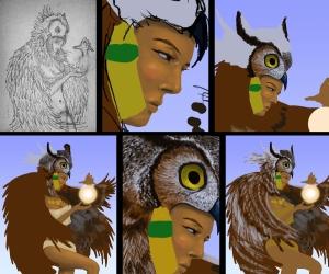 Owl woman illustration progress shots by Mario Alberto González Robert. Magoro Graphics