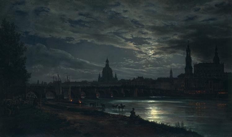 """View of Dresden by moonlight"" by Johan Christian Dahl"