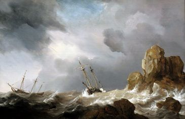 """Ship in a gale"" by Willem van de Velde"