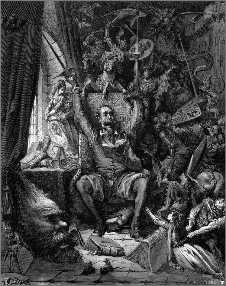 """DonQuijote reading books of chivalry"" by Gustav Doré"