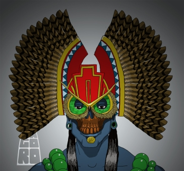 """Ceremonial owl mask"" sketch by Mario Alberto González Robert Magoro Graphics"