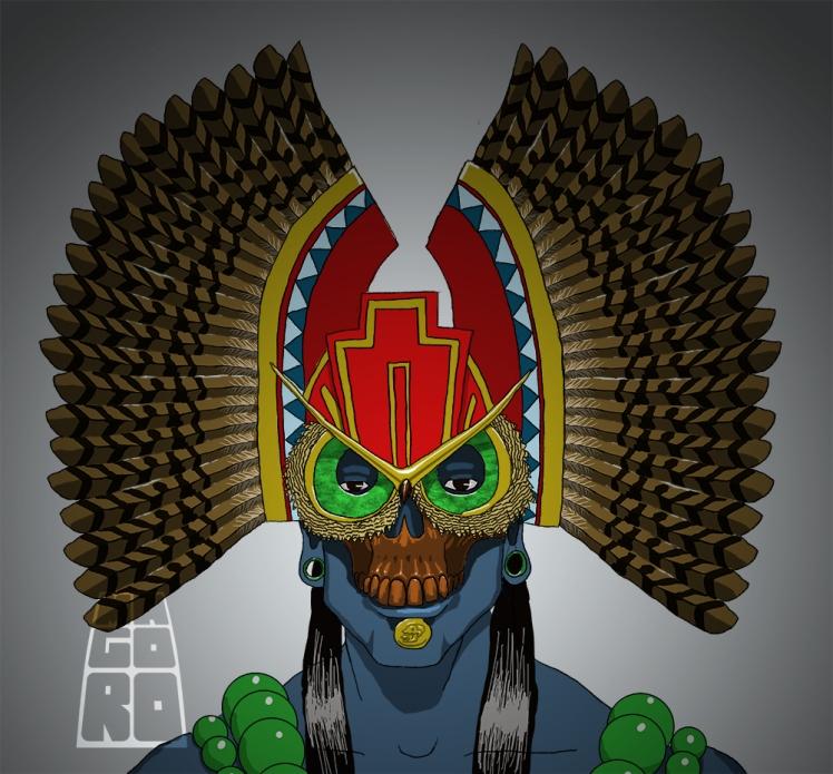 """Ceremonial owl mask"" sketch by Mario Alberto González Robert Magoro Graphics"