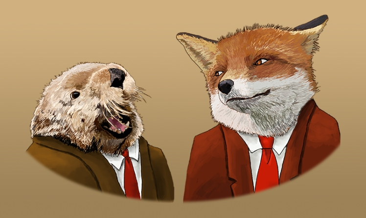 """""""The otter and the fox"""" by Mario Alberto González Robert Magoro Graphics"""