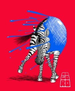 Inked Zebra by Mario Alberto González Robert Magoro Graphics