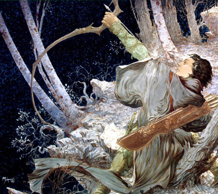 """Legolas Draws the Bow of Galadriel"" by Michael Kaluta"
