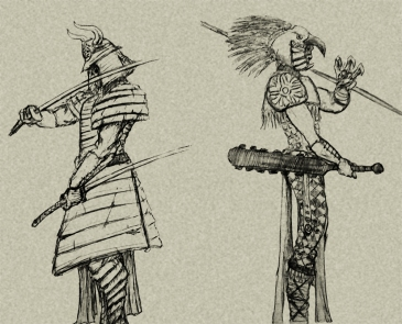 """samurai and eagle warrior sketch"" by Mario Alberto González Robert Magoro Graphics"
