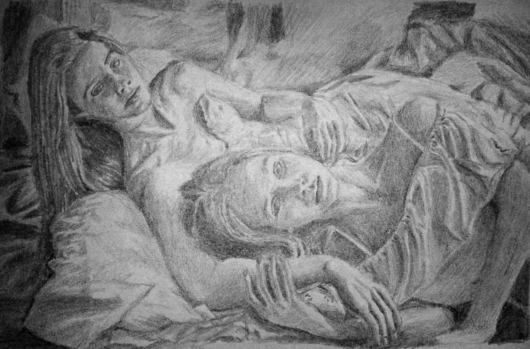 """""""Sisters"""" drawing by Mario Alberto González Robert based on the original photo by Camila Milk"""